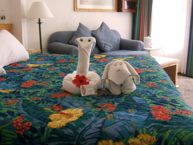 There's nothing better than opening your door and finding new towel animals on our bed.